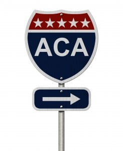 ACA Sign, A red, white and blue highway sign with words ACA and an arrow sign isolated over white