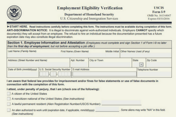The I-9 Form for Employment Eligibility Verification is updated again